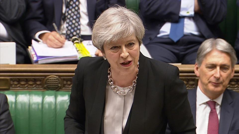 Still image from video footage shows Britain's Prime Minister Theresa May addressing the House of Commons in London on April 19, 2017.