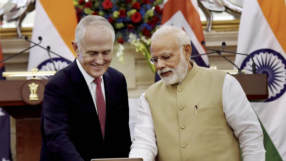 Prime Minister Narendra Modi with his Australian counterpart Malcolm Turnbull in Gurgaon, Haryana, New Delhi, April 10