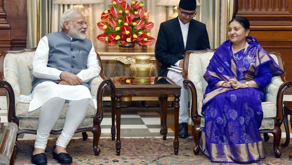 Prime Minister Narendra Modi meeting the President of Nepal, Bidya Devi Bhandari in New Delhi on Tuesday.