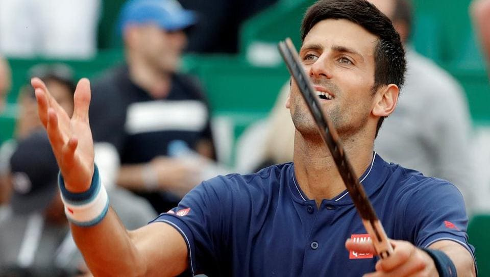 Novak Djokovic reacts after defeating Gilles Simon at the Monte Carlo Masters.