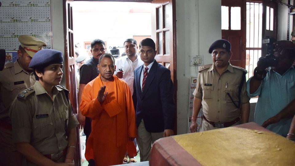 Chief minister of Uttar Pradesh Yogi Adityanath made a surprise inspection at Hazratganj police station in Lucknow on March 23.