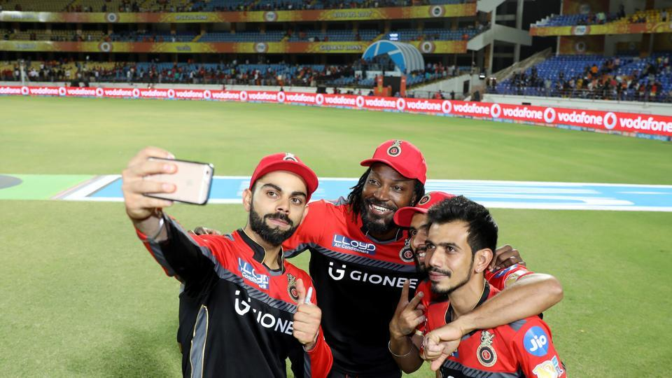 Virat Kohli clicks a selfie with three of his teammates who played a key role in helping Royal Challengers Bangalore register their second win in IPL 2017. While Chris Gayle scored a 38-ball 77 and Yuzvendra Chahal took three scalps, Mandeep Singh took the all-important catch of Dwayne Smith.  (BCCI )