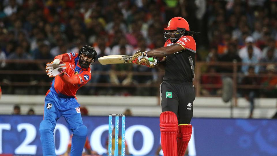 Chris Gayle stole the limelight with a fiery 77-run knock, during which he crossed the 10,000-run mark in T20 cricket, the first ever player to do so. (BCCI)