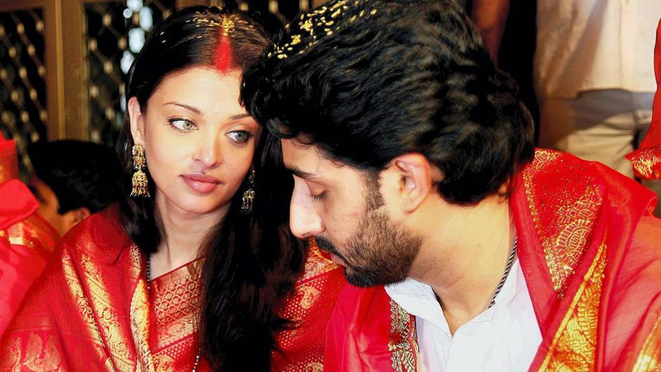 The couple's first pictures as a newlywed came out when the Bachchan family visited the Tirupati temple after the wedding. (PTI)