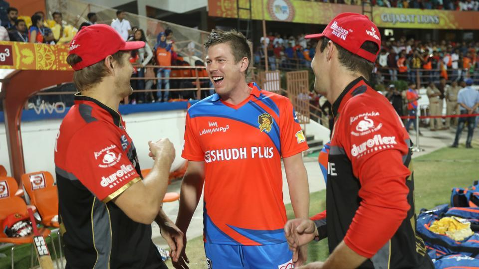 The Australian trio (starting from left) Shane Watson, James Faulkner and Travis Head chat post match. Faulkner is yet to play a game for Gujarat Lions this season.  (BCCI )