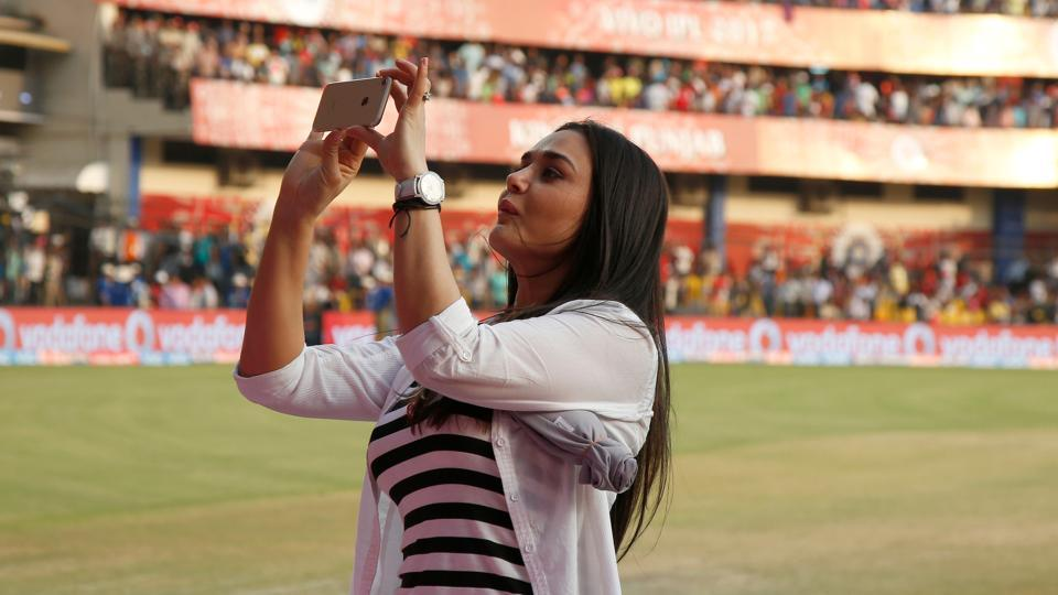 Preity Zinta's duties as co-owner of Kings XI Punjab doesn't end at being on the stands or near the team dugout. She ensures that every moment in the stadium is captured, some of them also getting shared through her social media channels.  (BCCI/Sportzpics)