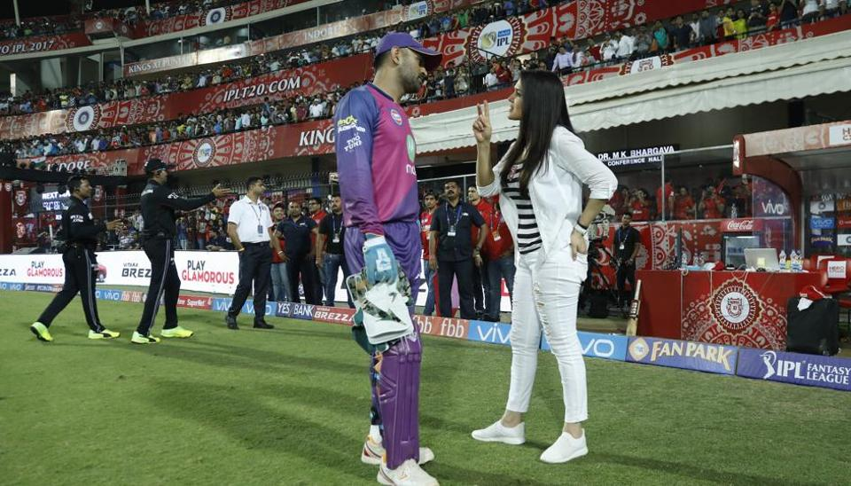 If there is one franchise owner in the Indian Premier League (IPL) who is at the thick of action during match-day, that has to be Kings XIPunjab's Preity Zinta. She is always among the players, and, also ensures that her charm is felt by opposition players too. Here, Preity is having a light conversation with Rising Pune Supergiant's MS Dhoni at  Holkar Cricket Stadium in Indore onApril 8. (BCCI/Sportzpics)