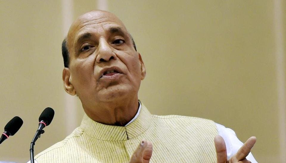 Home minister Rajnath Singh addressing the inaugural ceremony of the 11th Civil Services Day in New Delhi on Thursday.