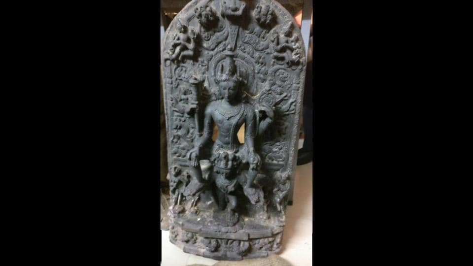 A 1200AD statue of Lord Vishnu sitting over Garuda is among the antiques recovered in India before they were to be shipped out to the United States.
