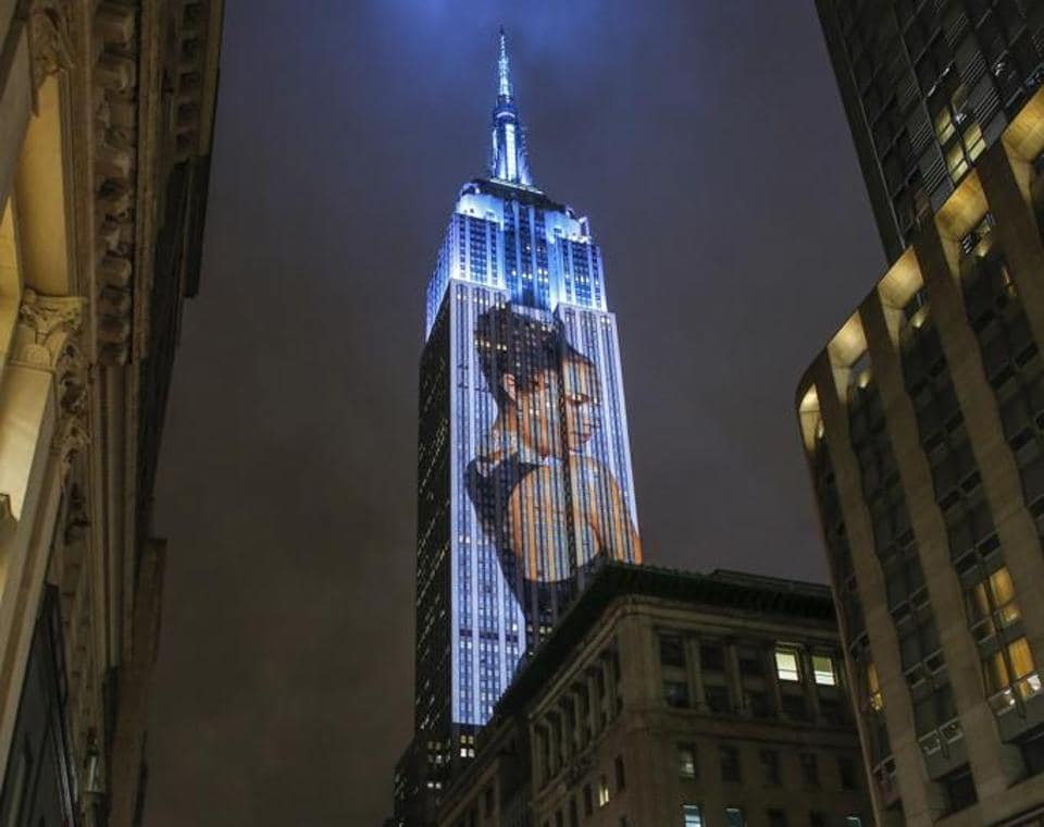 The north side of the Empire State Building flashed iconic shoots and cultural moments from the pages of Harper's into the New York skyline on Wednesday from 8:30pm until midnight.