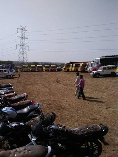 School buses parked at  Bilahra village in Sagar where chief minister Shivraj Singh Chouhan attended a programme on Wednesday (April 19, 2017). Photo/Anupam Pateriya