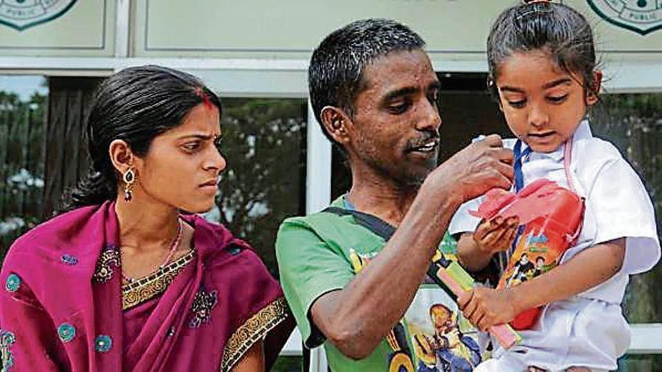 Abhishikt Kumar, a child prodigy, with his parents at Delhi Public school campus in Ranchi.