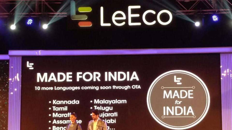 This file photo shows LeEco launching a series of new handsets last year in India.