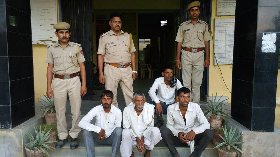 The four people arrested for cow smuggling in Bharatpur on Tuesday night.