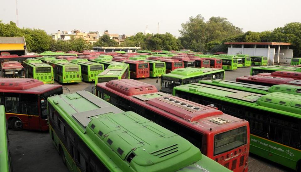 A view of buses parked at Peragarhi DTC Bus Depot. The green court has ordered the Delhi government to introduce 'destination buses' — stopping only at origin and destination points.