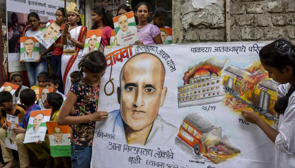 Painting of Kulbhushan Yadav by Gurukul students of art as a protest against Kulbhushan Jadhav death sentence at Lalbaugh in Mumbai.
