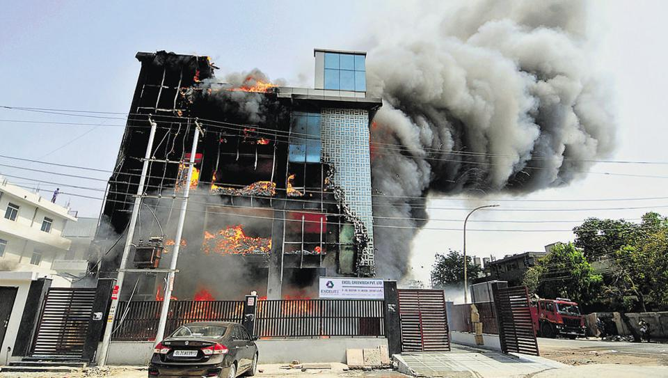 A major fire broke out on the first floor of an electronic goods factory in Noida's