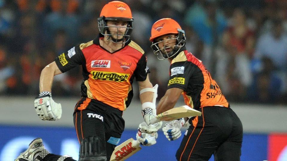 Sunrisers Hyderabad batsmen Kane Williamson (L) and Shikhar Dhawan run between the wickets during the 2017 Indian Premier League Twenty20 match vs Delhi Daredevils at the Rajiv Gandhi International Stadium in Hyderabad on Wednesday.
