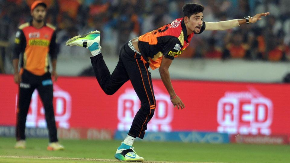 Sunrisers Hyderabad's Mohammed Siraj in action during the Indian Premier League (IPL)match against Delhi Daredevils at the Rajiv Gandhi International Cricket Stadium in Hyderabad on Wednesday.
