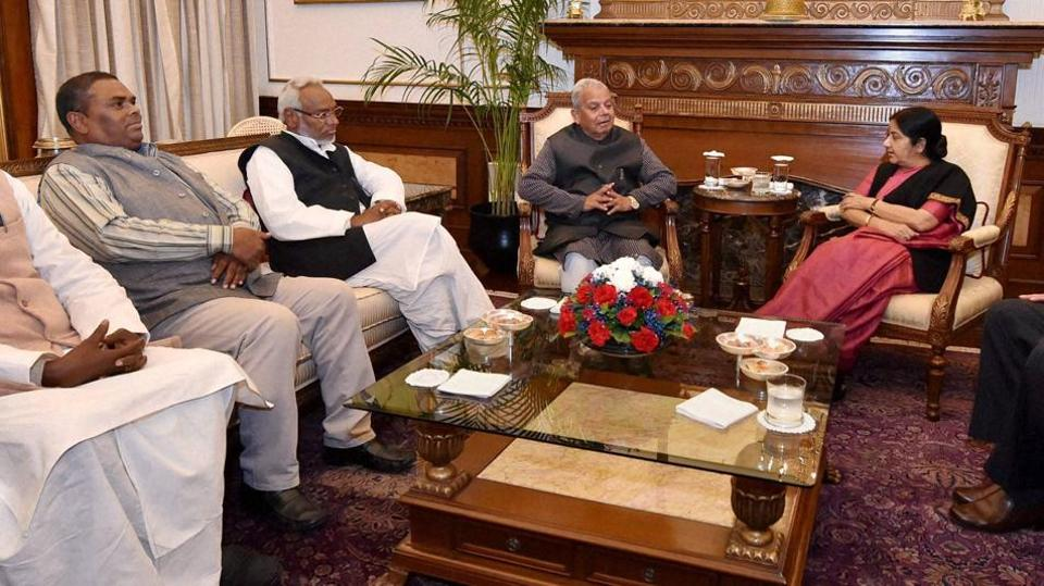 File photo of external affairs ministerSushma Swaraj meeting Madhesi leaders from Nepal, including Mahanta Thakur, Rajendra Mahato, Upendra Yadav and Mahendra Rai Yadav, in New Delhi.