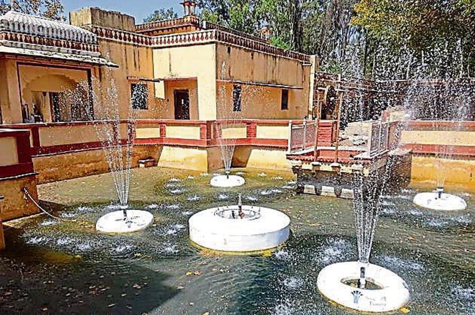 Fountains inside the Brij Vilas Bhawan Museum in  Kota being renovated.