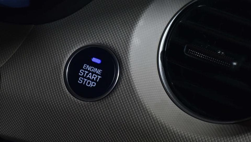 The car gets a keyless entry feature with a start-stop button. The six petrol variants are priced between Rs 5.38 lakh and Rs 7.51 lakh while the five diesel trims are tagged between Rs 6.28 lakh and Rs 8.41 lakh. (Vipin Kumar / HT Photo )