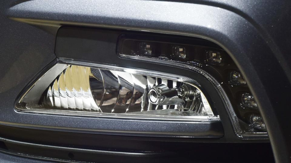 The revised front bumper that now incorporates fog lamps with LED Daytime Running Lights (DRL). (Vipin Kumar / HT Photo )