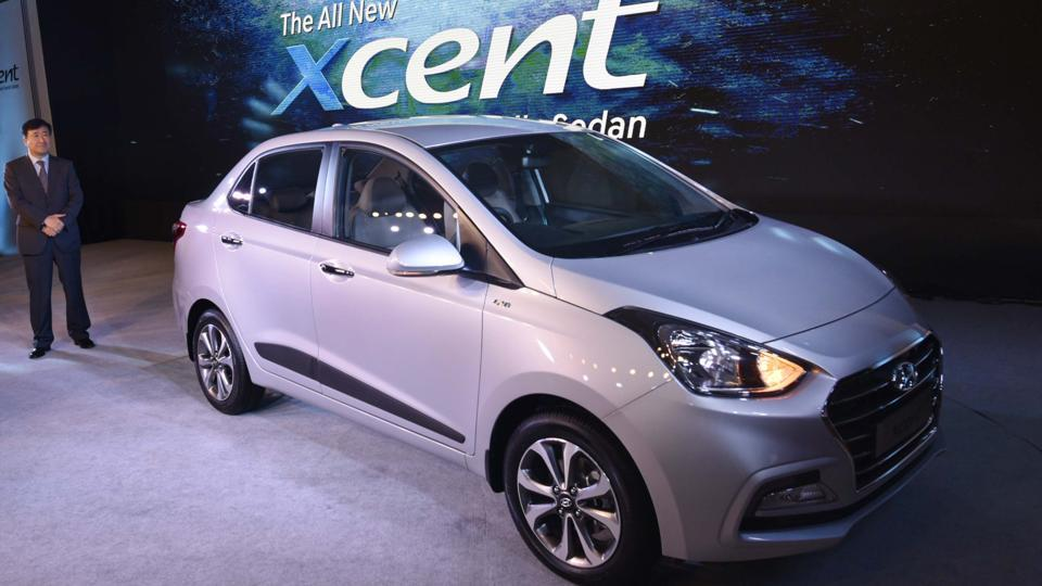 Hyundai Motor India launched a facelift of its popular compact sedan Xcent in New Delhi on Thursday. (Vipin Kumar / HT Photo )