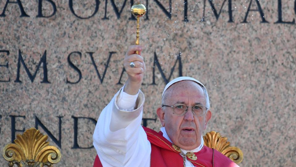 Pope Francis as he blesses the palms during the Palm Sunday mass, at St Peter's square in Vatican.