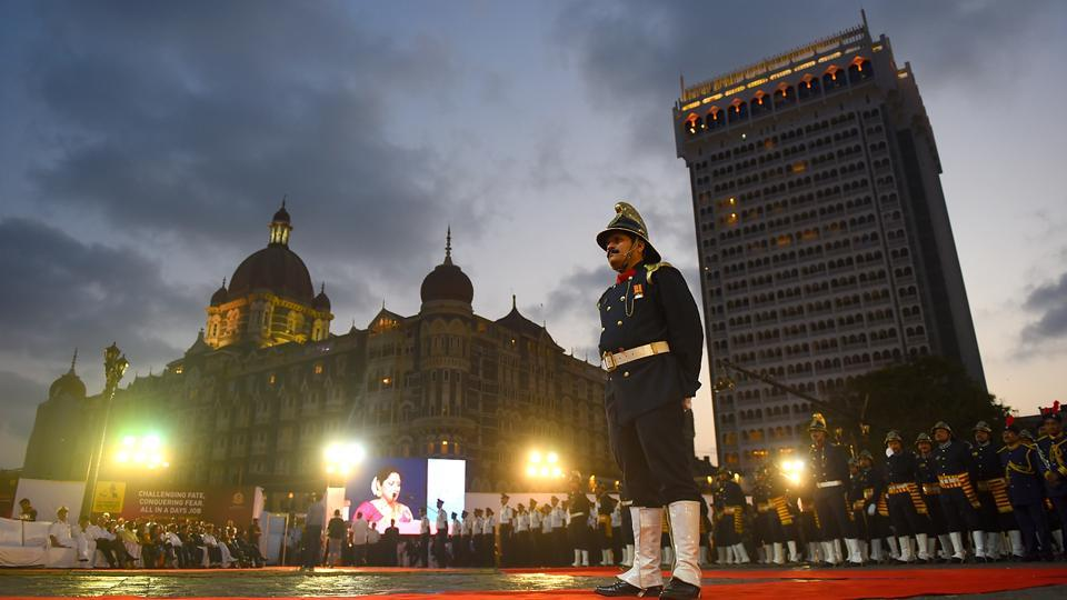 Fire-safety personnel during the closing parade of the fire service week at the Gateway of India on Thursday. (Pratik Chorge/HT Photo)