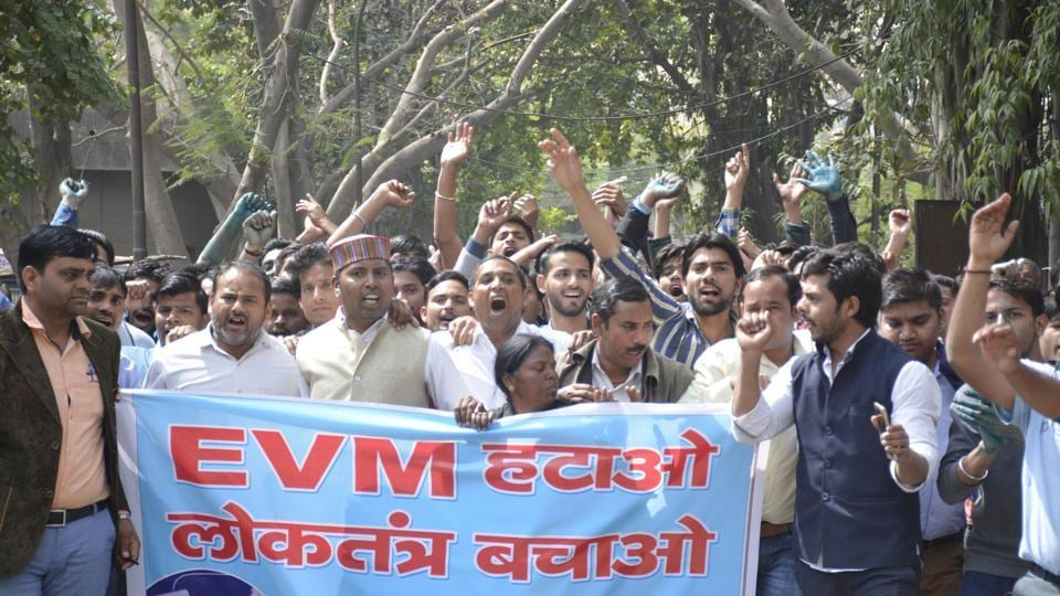 Ghaziabad , India - March 14 A group of protesters on Tuesday held a demonstration at district headquarters and demanded an inquiry into the EVM machines used in recent UP assembly elections . in Ghaziabad,India, on Tuesday, March 14, 2016. (Photo by Sakib Ali /Hindustan Times)