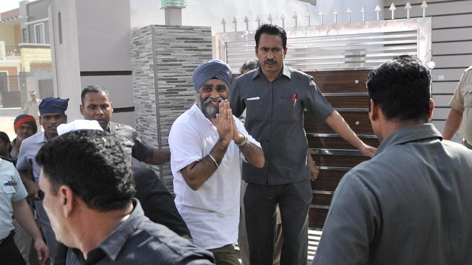 Canadian defence minister Harjit Singh Sajjan at his ancestral village Bombeli in Hoshiarpur district on Thursday.