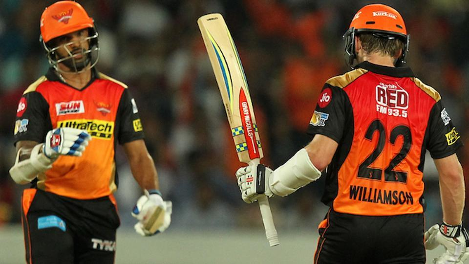 Kane Williamson (R) and Shikhar Dhawan (L) scored fifties, which proved crucial in Sunrisers Hyderabad's 15-run win over Delhi Daredevils in the 2017 Indian Premier League. (BCCI)