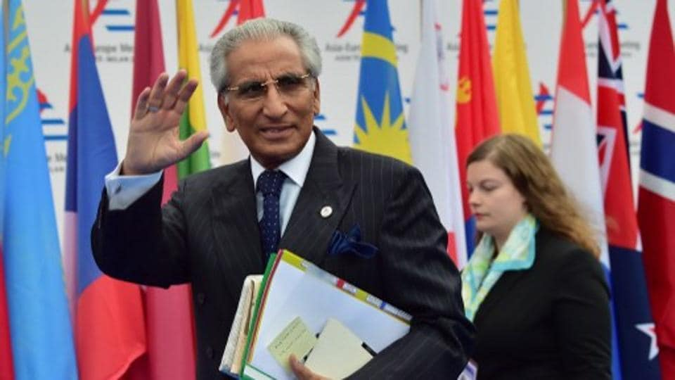 Special assistant to Prime Minister, Syed Tariq Fatemi, arrives to attend the 10th Asia-Europe Meeting (ASEM) on October 16, 2014 in Milan. The Asia-Europe Meeting (ASEM) was created in 1996 as a forum for dialogue and cooperation between Europe and Asia held every two years alternatively in Asia and Europe.