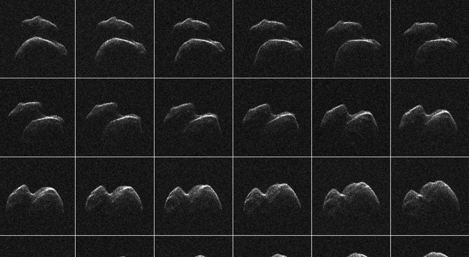 Images of asteroid 2014 JO25 which was generated with radar data collected using Nasa's Goldstone Solar System Radar in California's Mojave Desert, in a composite image released on April 18, 2017.