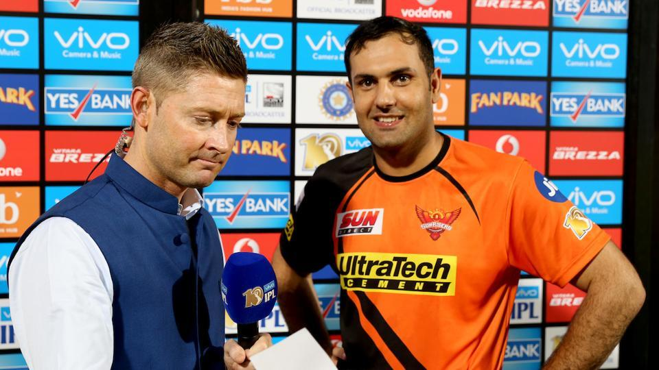 SRH's Mohammad Nabi poses while former Australia skipper Michael Clarke gets ready to take his interview.  (BCCI )