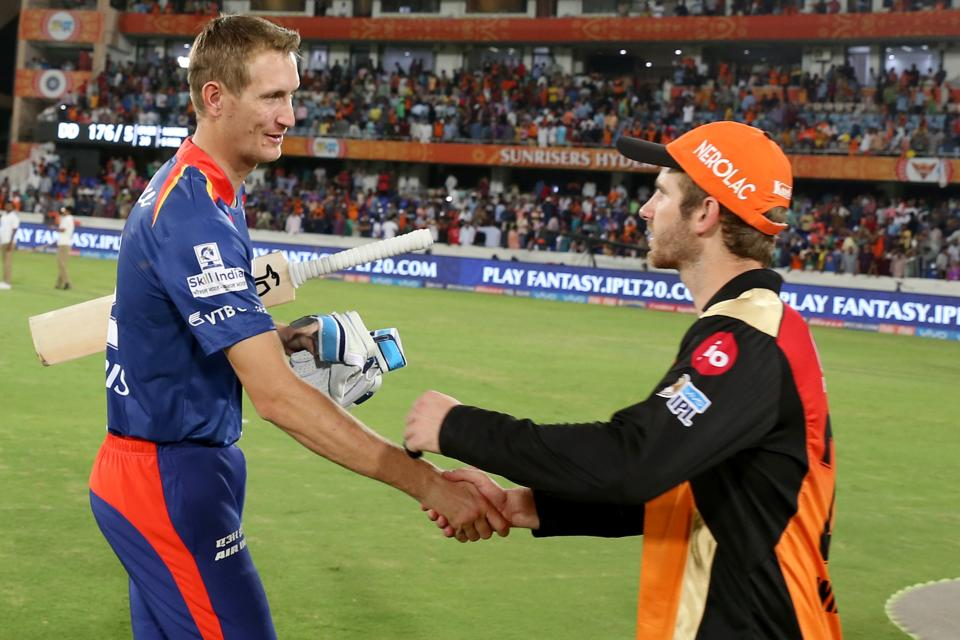 Chris Morris greets Kane Williamson, who played a blistering 89-run knock in his first game this season.  (BCCI )