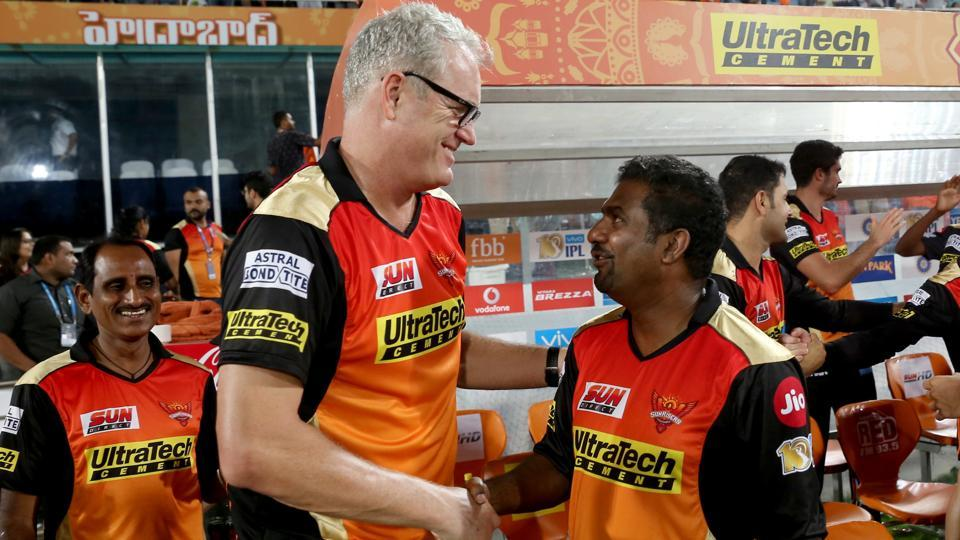 Sunrisers Hyderabad coach Tom Moody and bowling coach Muttiah Muralitharan congratulate each other after their team registers a close win vs Delhi Daredevils.  (BCCI )
