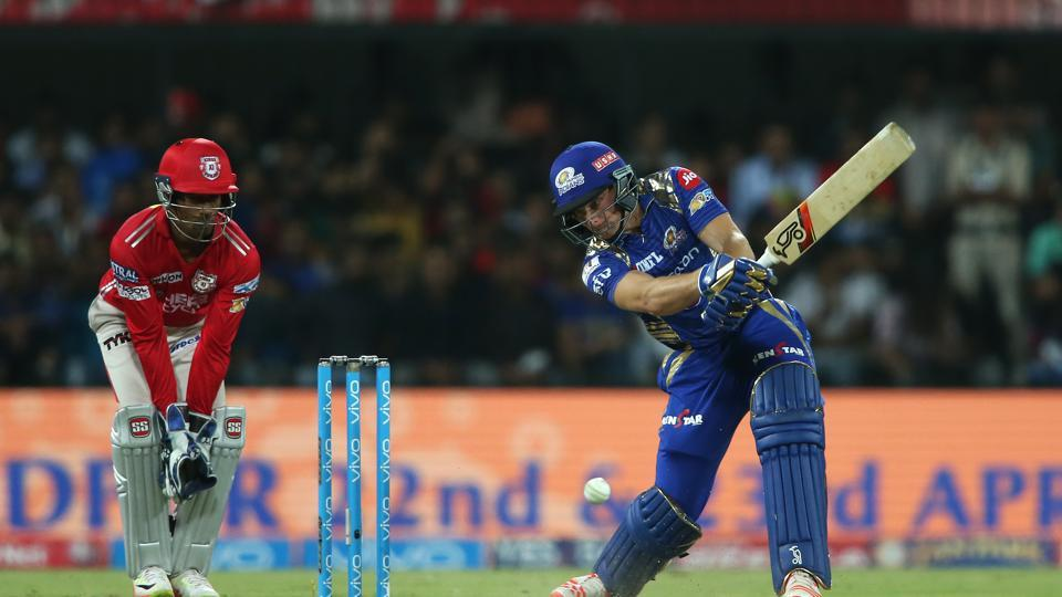 Jos Buttler's 37-ball 77 helped Mumbai Indians thrash Kings XI Punjab by eight wickets to go to top of IPL 2017 standings.