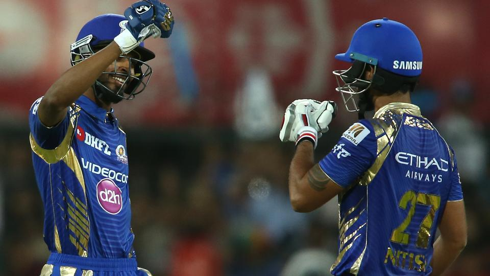 Hardik Pandya and Nitish Rana of Mumbai Indians celebrate their eight-wicket victory against Kings XI Punjab in their 2017 Indian Premier League match at the Holkar Stadium in Indore on Thursday.  (BCCI)