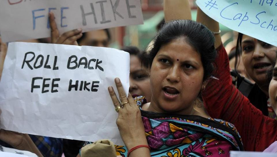 The group of parents from The Shriram Millennium School have joined the ongoing protest of others across Delhi-NCR against fee hike by private schools.