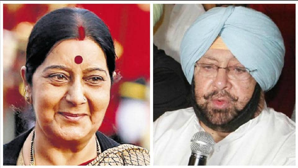 Union external affairs minister Sushma Swaraj and Punjab CM Capt Amarinder Singh.