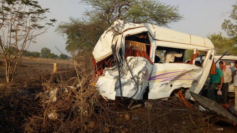 The mangled remains of the bus in Sangli on Friday.