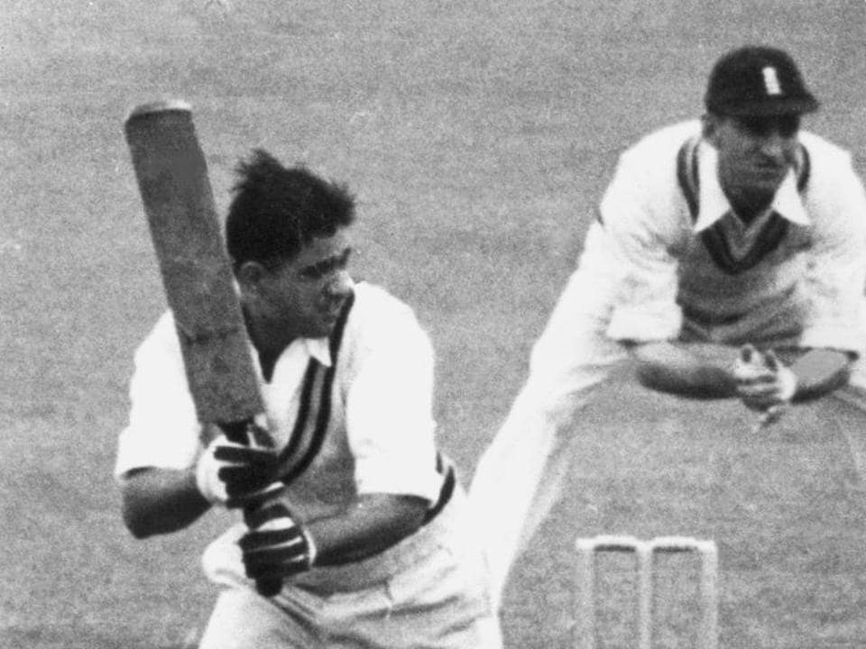 Vinoo Mankad batting for India against England in a Test match at Manchester in 1952.