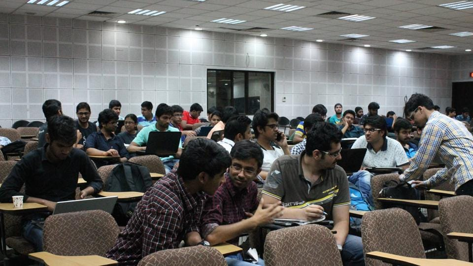Members of the Electronic Engineering Society participating in a hackathon at IIT Delhi. They'll be organising another one on climate change this weekend with the institute's Sustainability Society