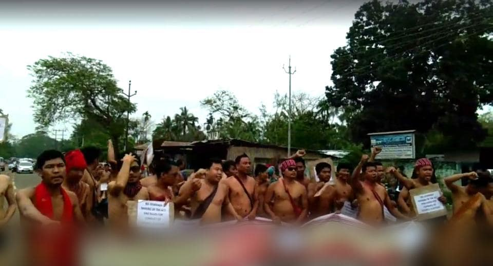 Protesters marching in the buff in Assam's Karbi Anglong district on Friday.