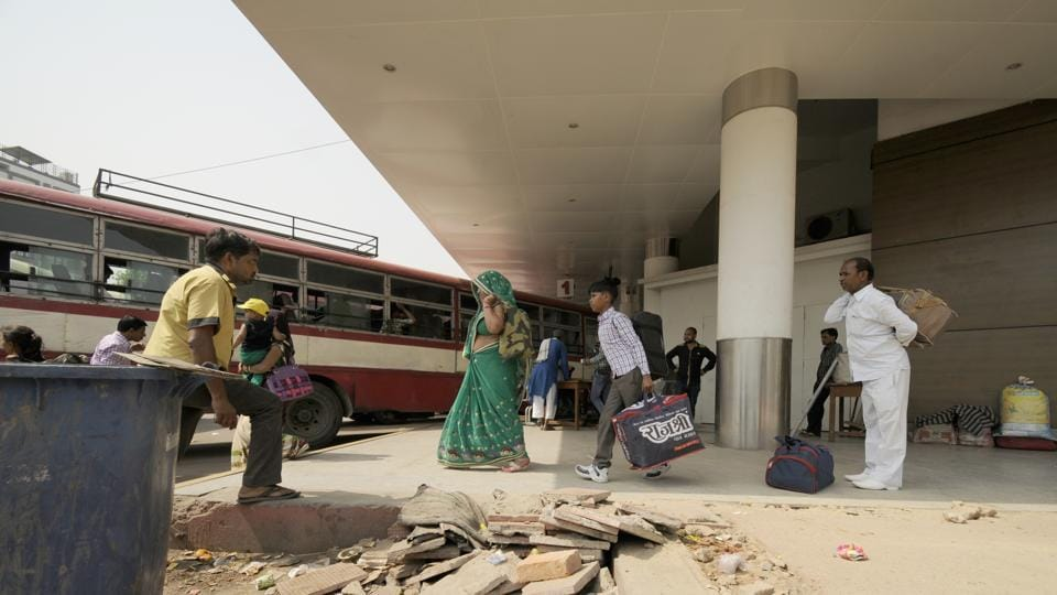 Passengers face difficulty even while walking as the floor lies damaged with its tiles uprooted at various spots.
