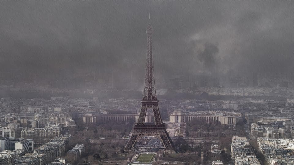A view of the Eiffel Tower on a stormy rainy day in autumn. Researchers at Imperial College London in the UK calculated the effect of sulphur dioxide emissions on rainfall in India in the year 2000 to determine its affects on India.