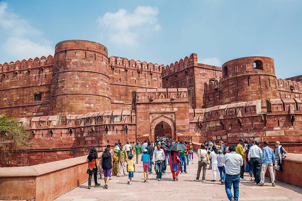 The Agra Fort where Aurangzeb imprisoned his father Shah Jahan.