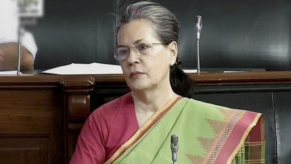 Congress president Sonia Gandhi in the Lok Sabha.